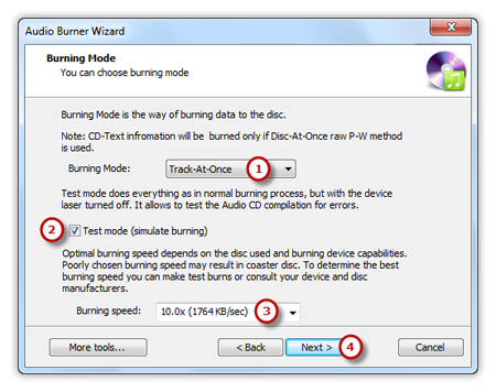 Select Burning Mode and Burning Speed