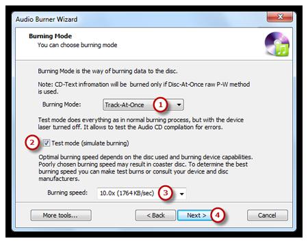 Select Burning Mode and Burning Speed