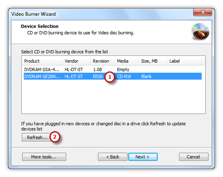 Select Usable Burning Device